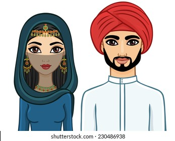Animation Arab family: the man and the woman in traditional clothes and hijab. Isolated.