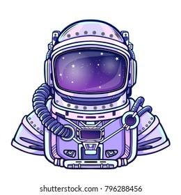 Animation Astronaut in a space suit.  Vector illustration isolated on a white background. Print, poster, t-shirt, card.