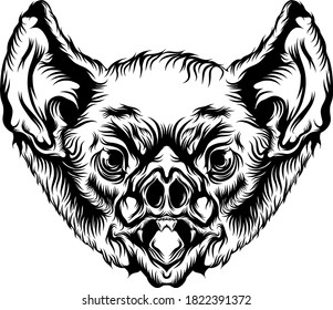 Animation of the bat head with black outline for the tattoo ideas
