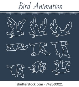 animation the bird is flying. dove animation. sprite bird flies, on black background. icon in the linear style. Can be used for GIF animation
