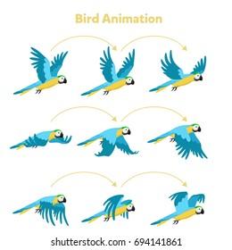 Animation the bird is flying. Parrot Animation. Sprite bird flies.