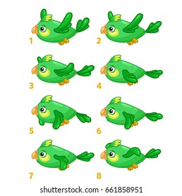 Animation the bird is flying. Sprite bird flies.