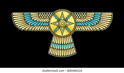 Animation color drawing: winged divine star. Symbol in Assyrian mythology.  Vector illustration isolated on a black background.