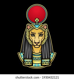 Animation  color portrait Ancient Egyptian goddess with head of  Lioness, disk of sun. Tefnut, Sekhmet, Bastet.   Vector illustration isolated on a black background. Print, poster, tatoo.