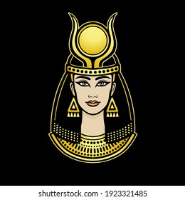 Animation color portrait of beautiful Egyptian woman. Vector illustration isolated on a dark background. Print, poster, t-shirt, tattoo.
