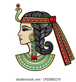 Animation color portrait of beautiful Egyptian woman. Profile view. Vector illustration isolated on a white background. Print, poster, t-shirt, tattoo.