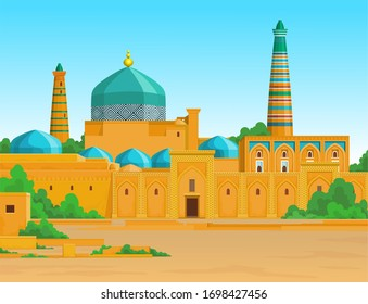 Animation  colorful landscape: Ancient palace, towers, minaret.  Middle Asia. Vector illustration.