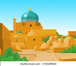 Animation  colorful landscape: Ancient palace, towers, yard.  Middle Asia. Vector illustration.