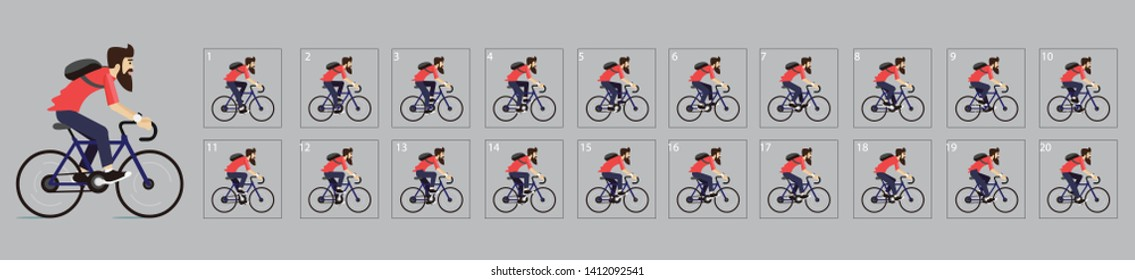 Animation of Cycling. Cycle riding animation . Sprite sheet of Cycling. Animation for game or cartoon. Frame by frame animation. - Vector