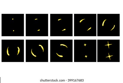 Animation fiery crater. Storyboard to animate the explosion. Games animation effect. Fiery spiral effect.