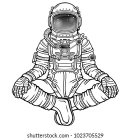Animation figure of the astronaut in a pose Buddha. Meditation in space. Vector illustration isolated on a white background. Be use for coloring booke. Print, poster, t-shirt, card.