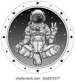 Animation figure of the astronaut sitting in Buddha pose. Meditation in space. Background - the night sky, a circle of stars. Vector illustration isolated. Print, poster, t-shirt, card.