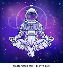 Animation figure of the astronaut sitting in Buddha pose. Meditation in space. Color drawing. Background - the night star sky. Vector illustration. Print, poster, t-shirt, card.