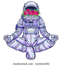 Animation figure of the astronaut sitting in Buddha pose. Meditation in space.  Color drawing. Vector illustration isolated on a white background. Print, poster, t-shirt, card.