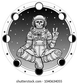 Animation figure of the astronaut skeleton sitting in Buddha pose. Meditation in space. Background - the star sky, phases of the moon. Vector illustration isolated.  Print, poster, t-shirt, card.