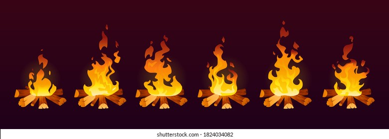 Animation of fire burn in 2d effect, cartoon vector background. Fire flames on wood or campfire and bonfire or fireplace icons in motion with smoke and heat, animation trap frame or storyboard