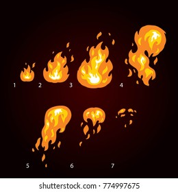 Animation of fire, flame, explosion. Sprite fire for game design.