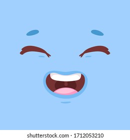 Animation funny cartoon coloful face with eyes and mouth with different expressions and emotions: smile, angry, laugh, surprised. Vector flat monster emoticon isolated on bright background