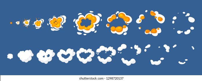 Animation for game of the explosion effect. The effect of an explosion with smoke, flame and particles. Vector illustration isolated. Cartoon cloud heart explosion. Smoke animation. Animation for game