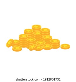 Animation gold coin For video games, a pile of gold coins, money spent on game items, gold for game design, money, coins. Which is a vector illustration