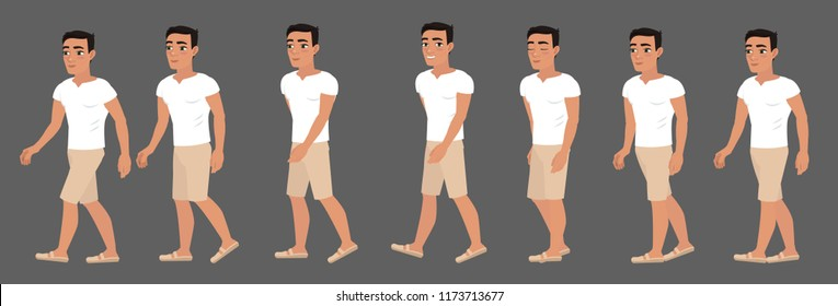 Animation of human gait. Guy, the character for the animation of the walk
