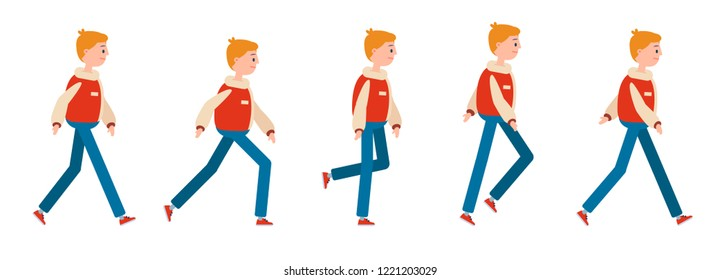 Animation of human gait. Young guy character walking cycle animation, isolated on a white backgroung