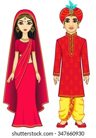 Animation Indian family. Full growth. Isolated on a white background.