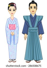 Animation Japanese couple: the man and the woman in ancient clothes. Full growth. Isolated on a white background.