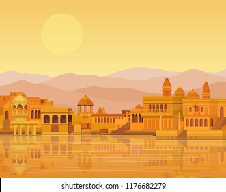 Animation landscape: the ancient Indian city: temples, palaces, dwellings, river bank. Vector illustration.