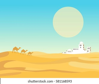 Animation landscape of the desert. The caravan of camels goes to the white city. Vector illustration, the place for the text.