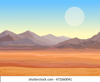 Animation landscape of the desert. The lifeless heated sand, mountains. Vector illustration, the place for the text.