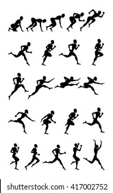 Animation Light Athletics 2016 Summer Games jumping and running black silhouette white background Icon Set.