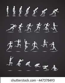 Animation Light Athletics 2016 Summer Games white silhouette black background Icon Set.