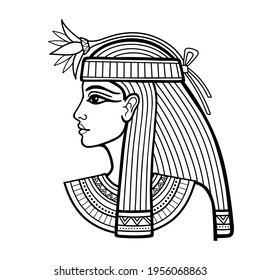 Animation linear portrait of beautiful Egyptian woman with flower. Goddess, princess. Profile view. Vector illustration isolated on a white background. Print, poster, t-shirt, tattoo.