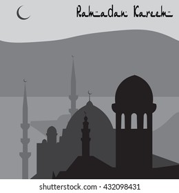 Animation Magic Turkish city of Istanbul in black and white. Ramadan. Vector illustration