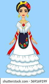 Animation Mexican girl in a festive dress. Isolated on a blue background.