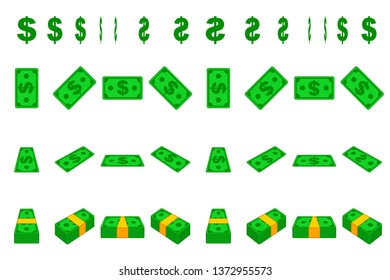 Animation money paper dollar step by step. Cartoon wad of cash in different positions isolated on separate layers. Flat design.