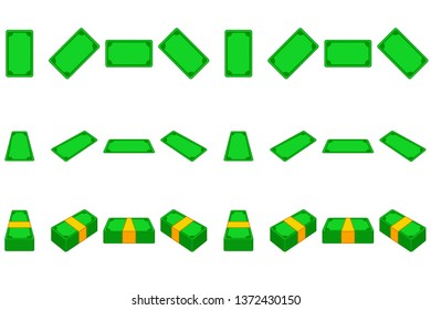 Animation money paper step by step. Cartoon template wad of cash in different positions isolated on separate layers. Vector Game element