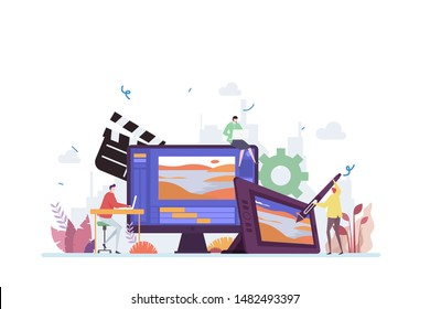 Animation and Motion Graphic Industry Vector Illustration Concept Showing Digital Motion Graphic Animation Creative Process Tools, Suitable for landing page, ui, web, App intro card, editorial, flyer,
