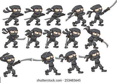 Animation of ninja attacking with sword. Vector clip art illustration with simple gradients. Each on a separate layer.