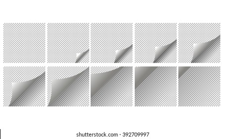 Animation page coup. Page curl with shadow on blank sheet of paper. White paper sticker. Element for advertising and promotional message isolated on transparent background.