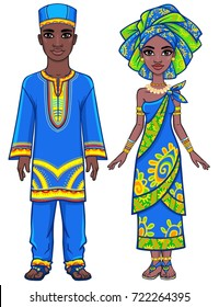 Animation portrait of the African family in bright ethnic clothes. Full growth. The vector illustration isolated on a white background.