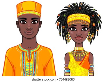 Animation portrait of the African family in bright ethnic clothes. Vector illustration isolated on a white background.