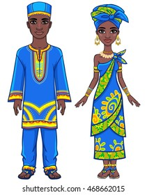 Animation portrait of the African family in ethnic clothes. Full growth. The vector illustration isolated on a white background.
