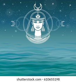 Animation portrait of the ancient Egyptian  goddess. Background - the sea, the night stellar sky. The place for the text. Vector illustration.