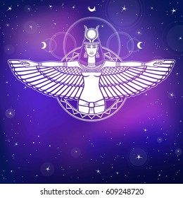 Animation portrait of the ancient Egyptian winged goddess.  Background - the night stellar sky. Vector illustration.