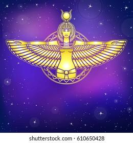 Animation portrait of the ancient Egyptian winged goddess. Gold imitation. Background - the night stellar sky. Vector illustration.