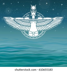 Animation portrait of the ancient Egyptian winged goddess. Background - the sea, the night stellar sky. The place for the text. Vector illustration.