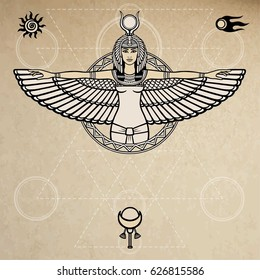 Animation portrait of the ancient Egyptian winged goddess.  Space symbols. Sacred geometry. Vector illustration. A background - imitation of old paper. The place for the text.