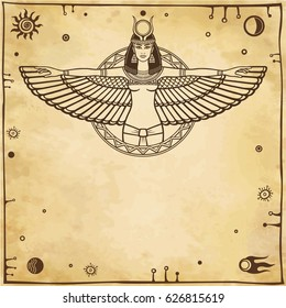 Animation portrait of the ancient Egyptian winged goddess.  Space symbols. Vector illustration. A background - imitation of old paper. The place for the text.